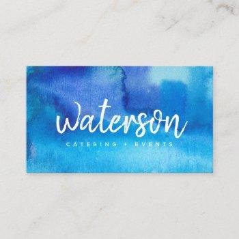 blue watercolor + white script | business cards