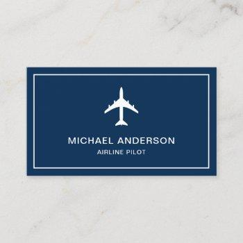 blue white jet aircraft airplane airline pilot business card