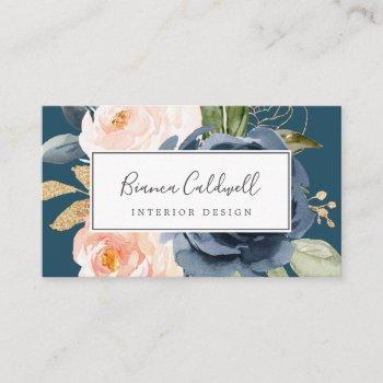 blush and navy flowers   blue business card