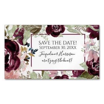 blush burgundy floral elegant foliage save date business card magnet