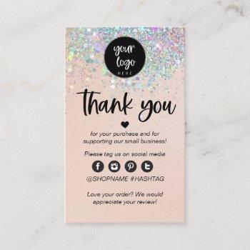 blush glitter business thank you for order insert