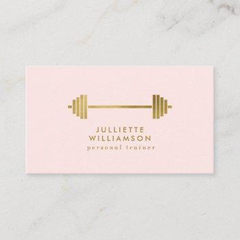 blush & gold personal trainer social media business card