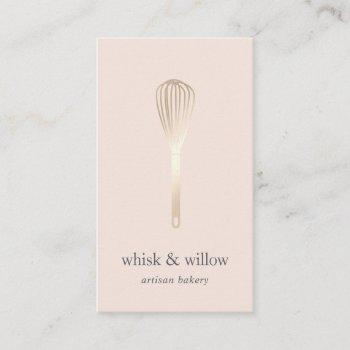 blush & gold whisk | bakery | chef | caterer business card