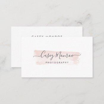 blush & gray watercolor signature script business card
