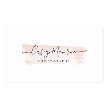 Small Blush & Gray Watercolor Signature Script Business Card Front View