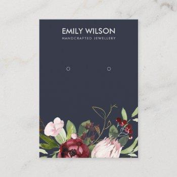 blush navy burgundy protea floral earring display business card