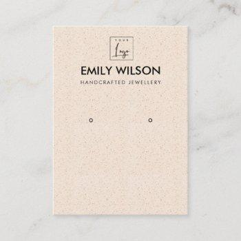 blush peach ceramic texture earring display logo business card