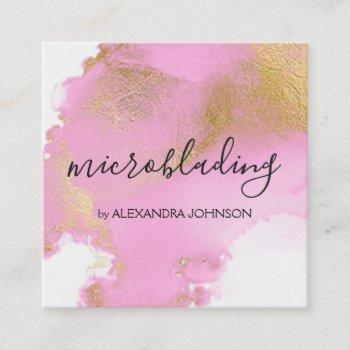 blush pink and gold foil wash girly square business card
