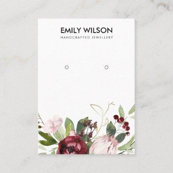 blush pink burgundy protea floral earring display business card