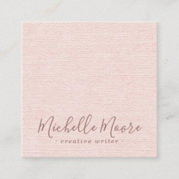 blush pink linen minimalist elegant professional square business card