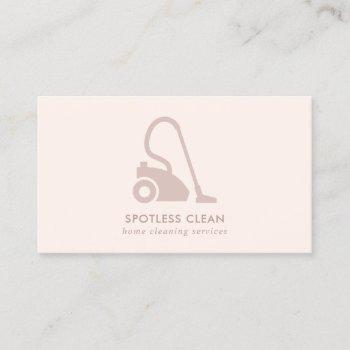 blush pink simple vacuum cleaner cleaning service business card