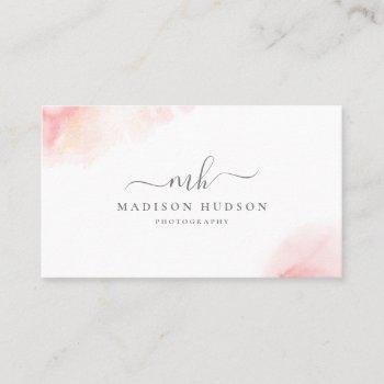 blush pink watercolor feminine business card