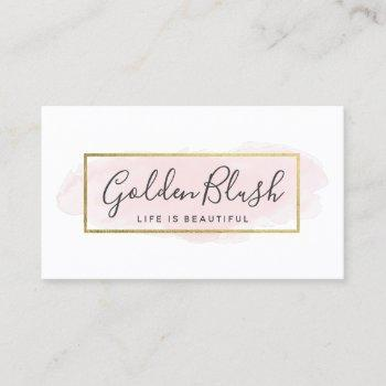 blush pink watercolor & gold social media network business card