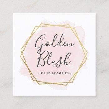 blush pink watercolor & gold social media network square business card