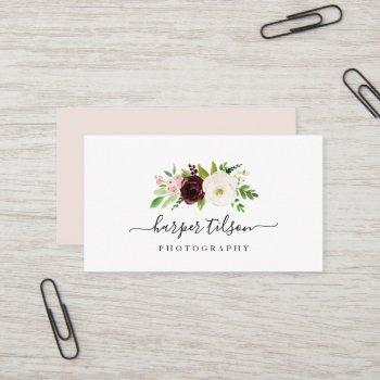 blush romance floral logo business card