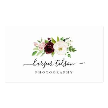Small Blush Romance Floral Logo Business Card Front View