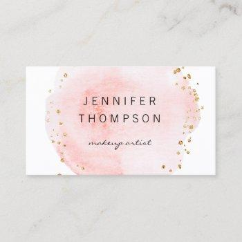 blush watercolor circle gold dots business card