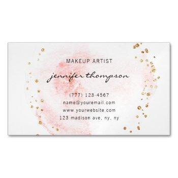 blush watercolor circle gold dots business card magnet