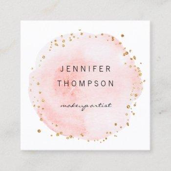 blush watercolor circle gold dots square business card