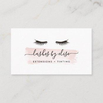 blush watercolor lash services business card