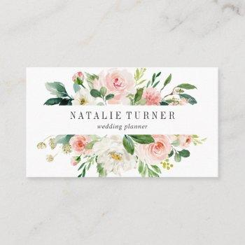 blush white bloom watercolor business card