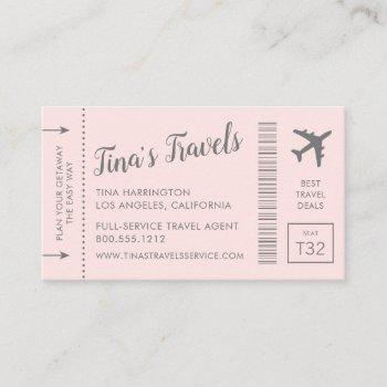 boarding pass plane ticket business cards pink