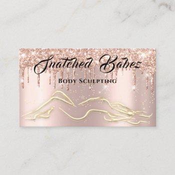 body sculpting beauty logo massage drips rose gold business card