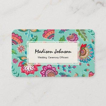 bohemian turquoise blue floral folk flowers business card