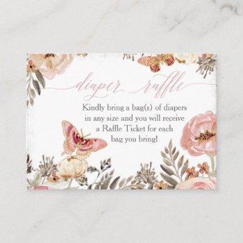 boho blush rose diaper raffle girl baby shower business card