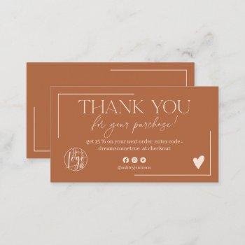 boho desert terracotta script order thank you business card