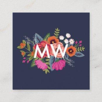 boho floral bouquet - navy blue - monogram square business card