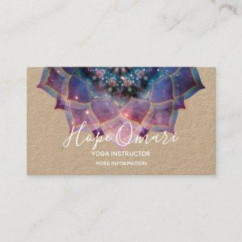 boho floral mandala chic, trendy & modern kraft business card