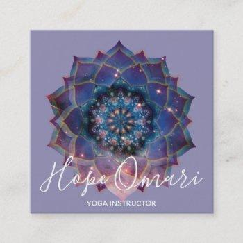 boho floral mandala chic, trendy & modern square business card