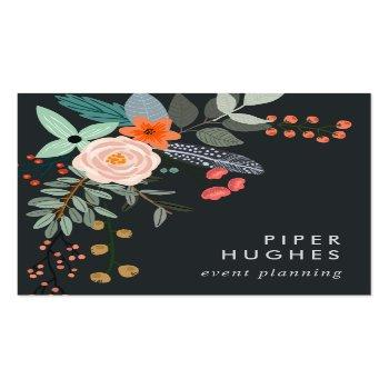 Small Boho Floral Square Business Card Front View