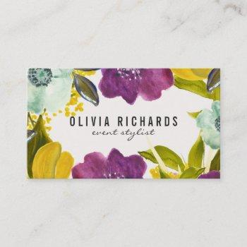 boho watercolor flowers   floral business card
