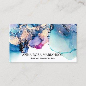 *~* bold abstract yummy turquoise teal gold gilded business card