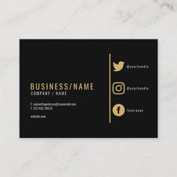 bold black and gold social media business card