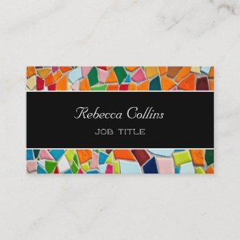 bold colorful mosaic tiles business card