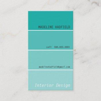 bold design paint swatch painter jade business card