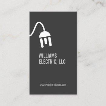 bold gray electrician modern business card