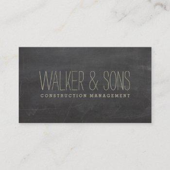 bold masculine simple plain rustic chalkboard gray business card