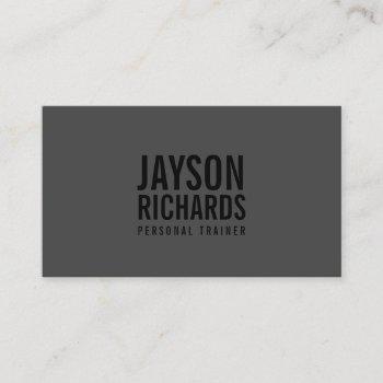 bold minimalist black/gray personal trainer business card