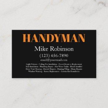 bold modern handyman services business card