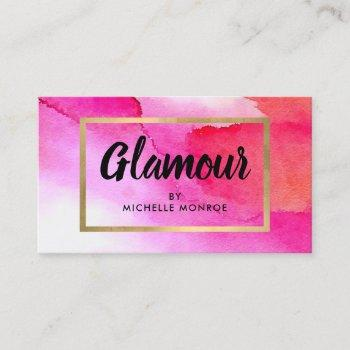 bold pink watercolors beauty, makeup artist business card