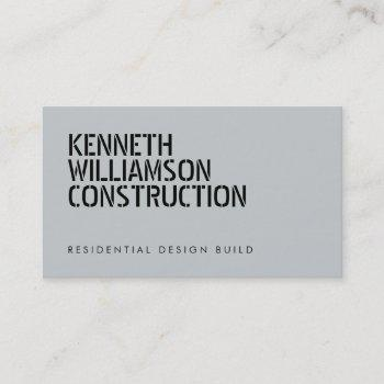 bold stenciled slate construction business card