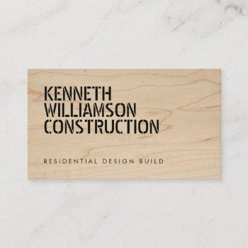 bold stenciled wood construction business card