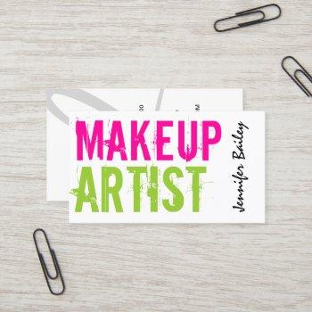 bold text makeup artist business card