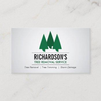 bold tree service logo green/gray business card