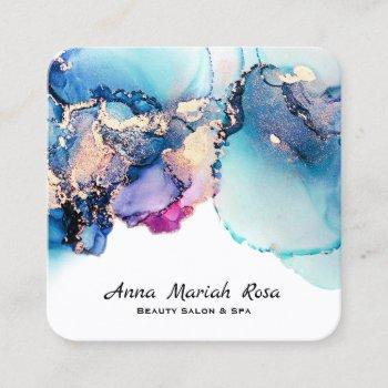 *~* bold yummy abstract turquoise teal gold gilded square business card