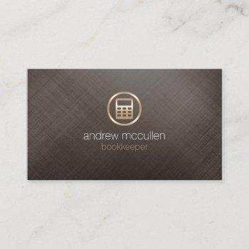 bookkeeper calculator icon gold brushed metal business card